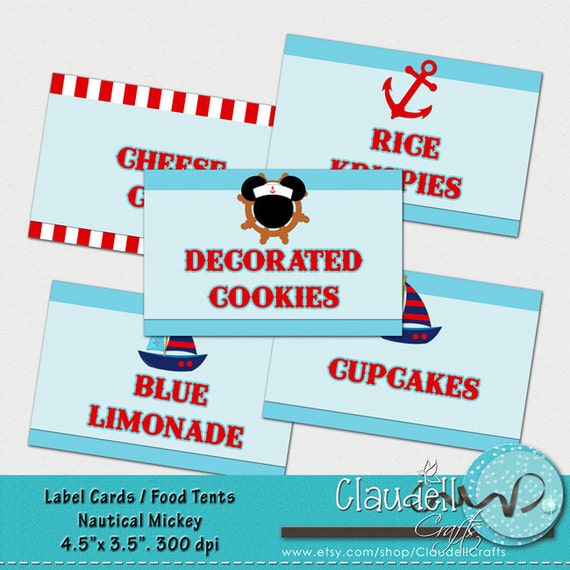 Nautical Mickey Inspired Printable Label Cards Blank Food