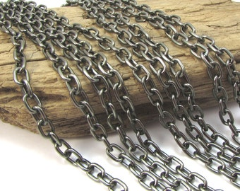 Gunmetal Chain, Oval Cable Chain, 5x8mm Oval Cable Chain, 5 feet, Gunmetal Finished Chain, Necklace Chain, Item 1122ch