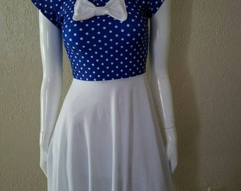 Pinup Blue and White Polka dotted Dress