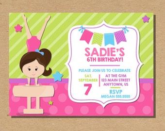 Gymnast Invitation Gym Printable Invite Girl's Birthday Invite Kids Party Printable Invitation Digital File