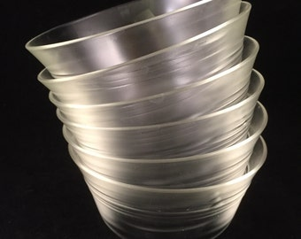 Set of 6 Pyrex Clear Custard Bowls with 3 Rings #445 - 1937-1949 5 oz.