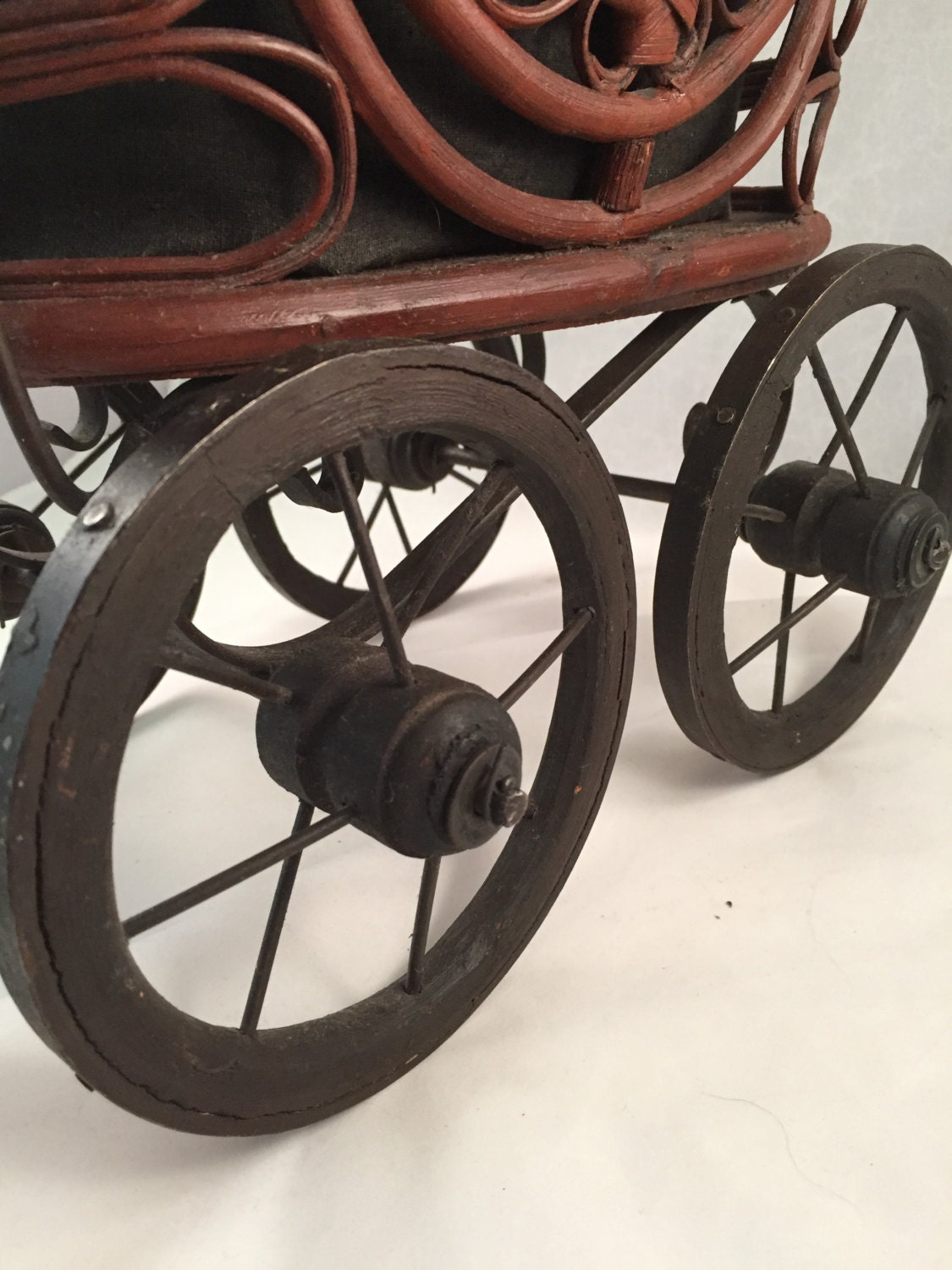 Vintage Wicker Baby Doll Carriage Metal And Woods Wheels
