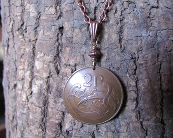 Ireland Eire Coin Pendant Necklace Antiqued Copper