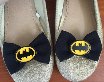 Batman inspired Black Microsuede Shoe Bows, Shoe Clips