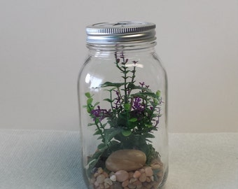 Mason Jar Quart Sized Silk Terrarium with Purple Vines and Rock with Decorative Lid
