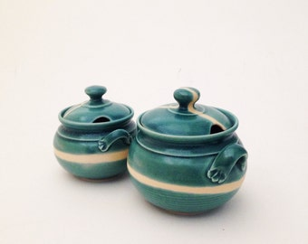 Set of Two Hand Crafted Ceramic Jars with Lids