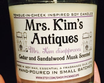Gilmore Girls Mrs. Kim Soy Candle-  Mrs. Kim disapproves- Cederwood and Amber Scented Candle -Gilmore Girls Gifts- Coffee Candle- Rory