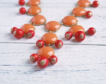 Bubble Necklace Inspired Burnt Orange Vermillion Coral Bubble Statement Bib Necklace