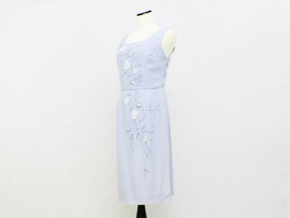 Vintage 1950s Pale Blue Wiggle Dress - Size Small