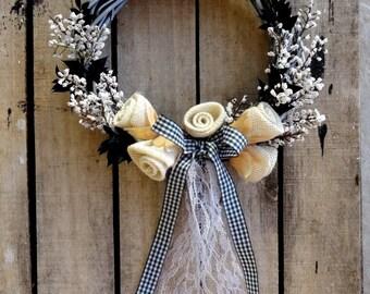 Handmade Flowers Wreath - Hanging Wreath - Wreath For Door - Year Round Wreath