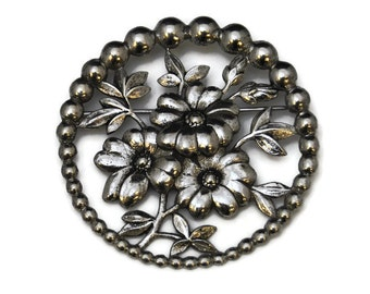 Taylord Sterling Brooch 1940s Vintage Taylord Silver Flower Brooch Circle Pin 23.5g E236