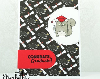 Graduation Congratulations Card, Funny Graduation Card Handmade, Grumpy Squirrel, College, High School