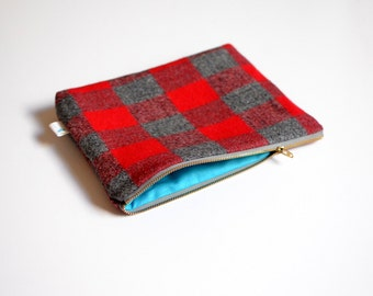 Buffalo Plaid Clutch, Red Plaid Clutch, Red and Gray Plaid Clutch  Purse Gifts for Women Gifts under 30 Buffalo Check Clutch