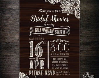 Woodgrain Rustic Bridal Shower Invitations - DIGITAL