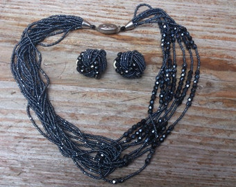 Vintage hematite multi strand necklace and earrings set