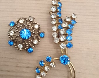 Two Vintage blue and white rhinestone brooches/pins