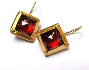 Garnet Earrings - Gold Earrings - 22 K Solid Gold Earrings - Free Shipping!!!