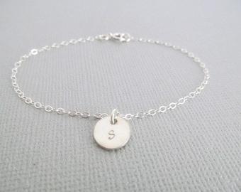 Initial Bracelet, Sterling Silver Bracelet, Personalized Bracelet, Gift for Her