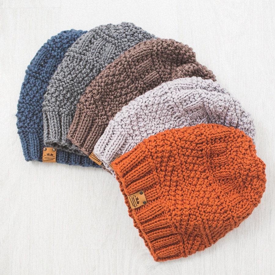 Mens Hats Knitting Patterns : Mens Knit Hat / Knitted Beanie / Wool Merino Hat