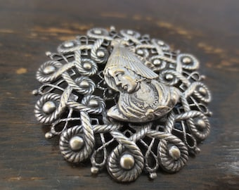 French Antique Silver Brooch Pin - Round Lace with