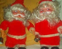 Vintage PAIR Nonworking Battery Operated Santa Claus Kris Kringle Father Christmas Walking Bellringers Decorations!
