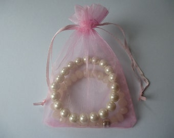 Organza bags.  Pale pink gift, jewellery, wedding bags. Pouches.  9mm x 12mm  Set of 25