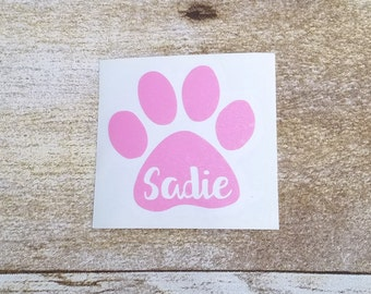 Dog decal, paw print decal, dog name decal, veterinarian assistant decal, custom decal, personalized decal, car decal, window decal