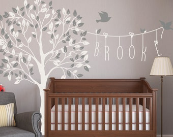 Nursery Tree Name Wall Decals With Birds Wall Decal Kids Wall Sticker Decor Mural