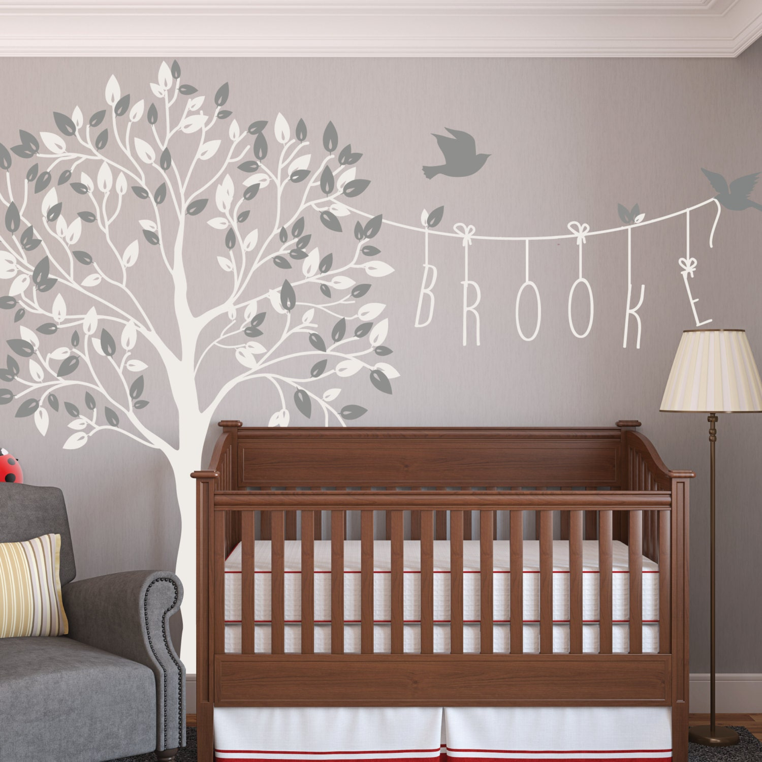 Wall Decor Stickers Nursery : Nursery tree name wall decals with birds decal kids