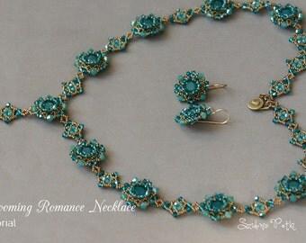 Beading Tutorial - 8mm Swarovski Chatons Necklace Tutorial -  Sweet Blooming Romance Necklace - Beading Tutorial by Sidonia