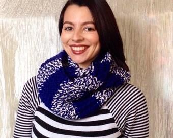 Blue Stripe Hand Knit Infinity Scarf