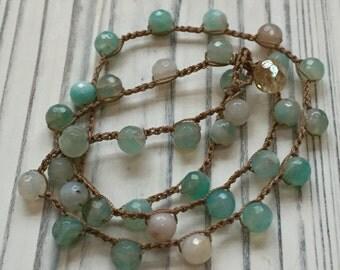 Ocean Blue/Green Quartz Crochet Necklace - Boho Style