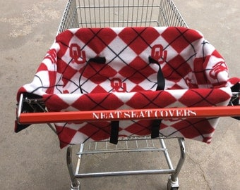 Shopping cart seat cover Oklahoma University Sooners with Red or Black Lining