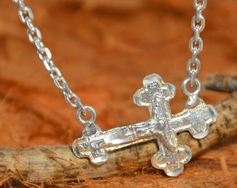 Side Cross Necklace - 100% Sterling Silver - Gift Idea - Hand Made Jewelry - Jewelry