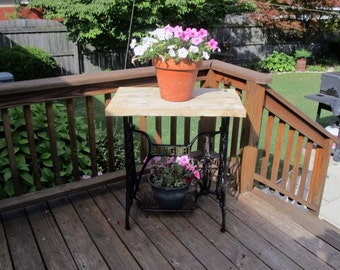 Antique Collectible TABLE:   Singer Sewing Machine Base & Reclaimed Barn Wood Top