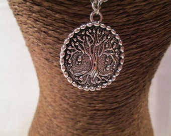 The Tree Of Life Pendant on an Antiqued Silver Chain, SIZE:26""