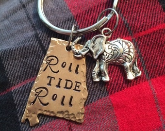 Alabama Roll Tie Roll Bama Custom Made Keychain with Personalization and Beads