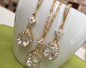 bridal jewelry set,round cz clear crystal jewelry,weddings-bridal tear drop necklace,tear drop errings