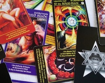 Tarot Cards Deck THE I AM ONE - 78 color tarot cards are easy to read with instruction booklet & spiral spread map - free text book online
