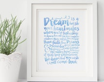 A Dream is a Wish Your Heart Makes - Typography - Cinderella - Disney - Hand lettered - Blue Watercolor