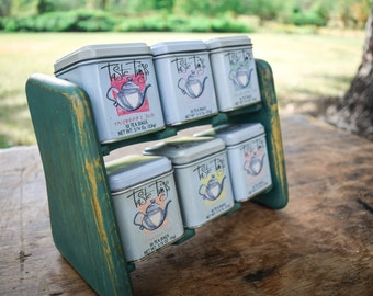 Vintage Tea Tins with Wood Shelf Holder Country Shabby Chic Kitchen Decor