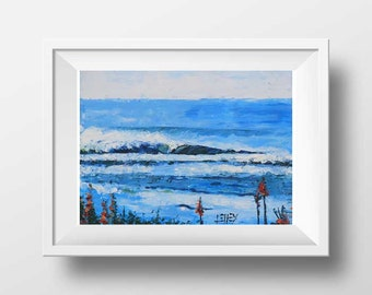 New Zealand Art, Landscape Print, Palette Knife, New Zealand Print, Gisborne New Zealand. Beach, coastal, nautical, north Island, No Brush.