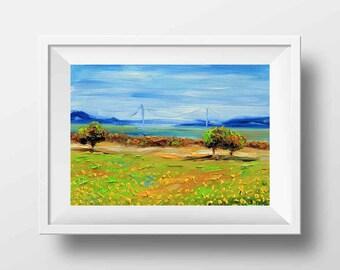 California Art, San Francisco Bay, East Bay, Berkeley, Golden Gate Bridge, 8x10, Print, California Print,Berkeley Print,California Landscape