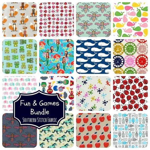 Kids novelty fabric fat quarter bundle by southernstitchfabric for Childrens fabric bundles