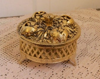 Vintage Brass Trinket Box Round Floral Bedroom Vanity Home Decor Country Cottage Farmhouse