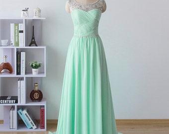 long prom dress, chiffon formal dress, mint homecoming dress