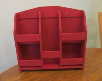 Recycled counter shelf, red shelf, wood shelf, bathroom storage, make up shelf