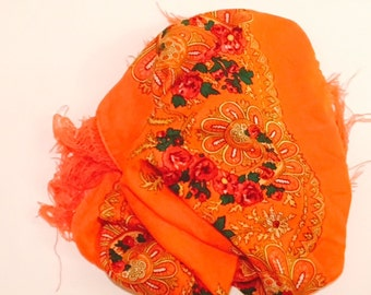 Orange Floral Scarf W/ Fringe