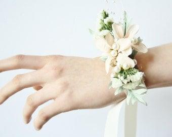 Rustic Corsage Winter corsage Woodland wedding corsage ivory flower corsage winter wedding wrist wrap blush bridal corsage