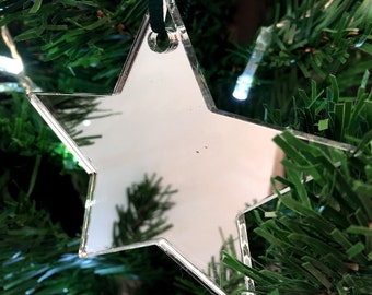 Set of 10 x Silver Star Christmas Tree Decorations in Mirrored Acrylic